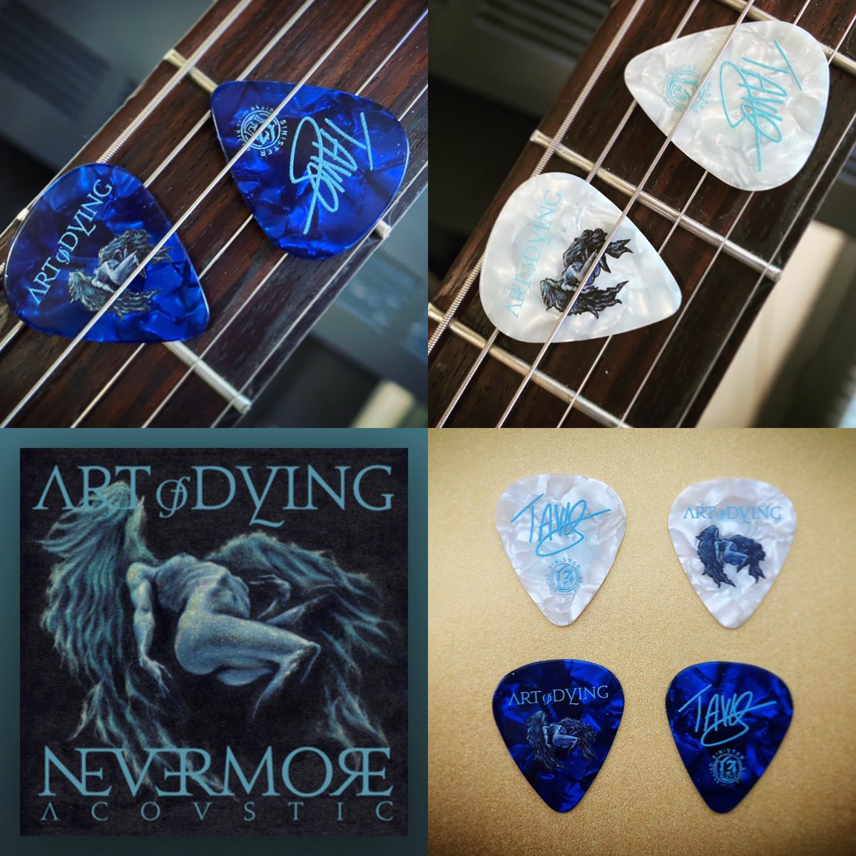New blue and white picks are in the merch store featuring the Nevermore Acoustic art by NY artist @StefanoLosi   GET EM ==> https://t.co/8IvQjdV2ty  STREAM IT ==> https://t.co/aJIoaaUKEC  #sinisterguitarpicks https://t.co/PoG8qgTusm
