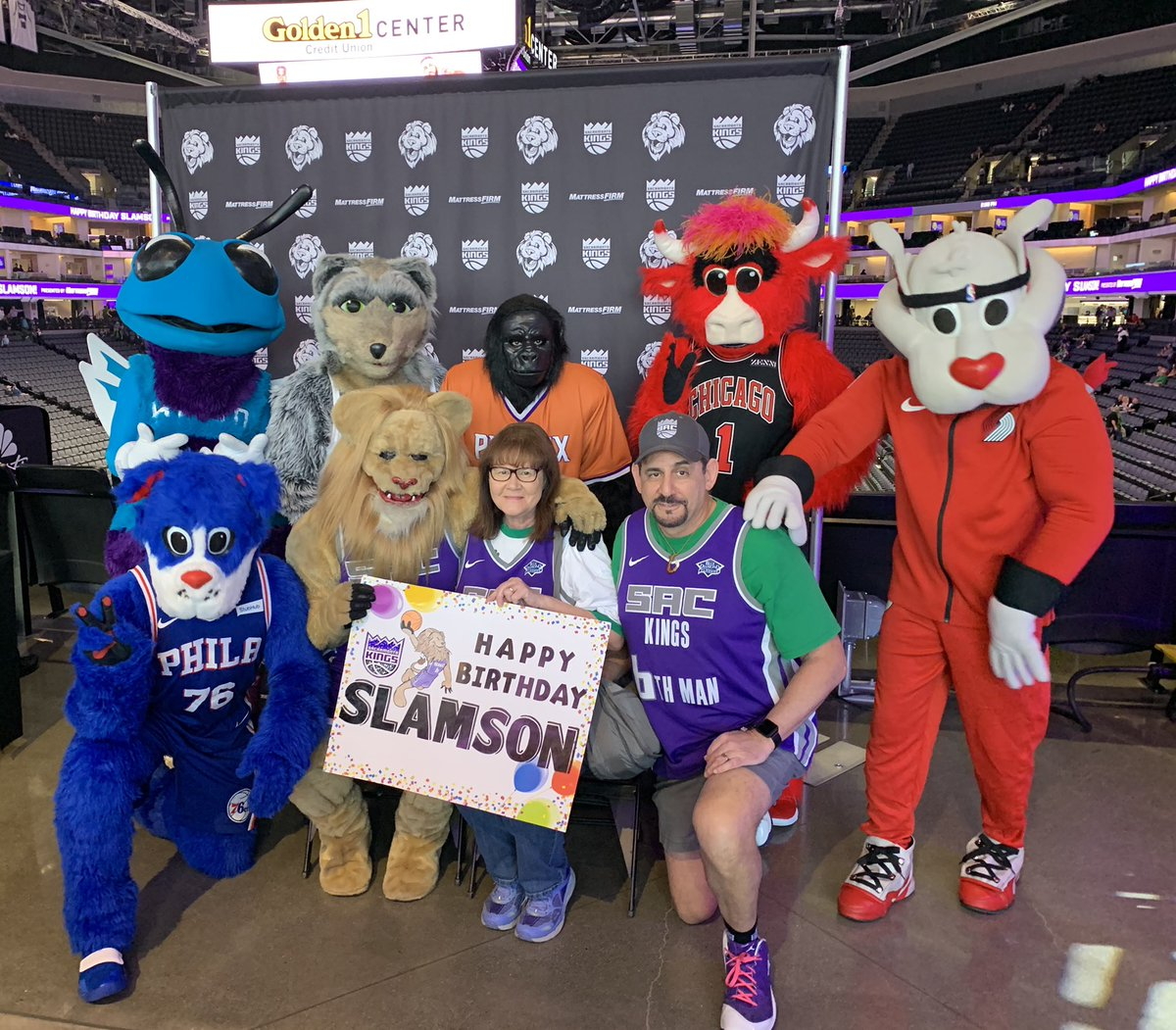 Sign #85- Birthday sign for @SlamsonTheLion, the best mascot in the NBA! We didn't get to celebrate in person this year due to the shutdown, so happy belated Birthday Slamson! We have missed seeing you at the arena! 🦁🎉💜 #InThisTogether #SacProudSigns https://t.co/Qc9N1BxEMc