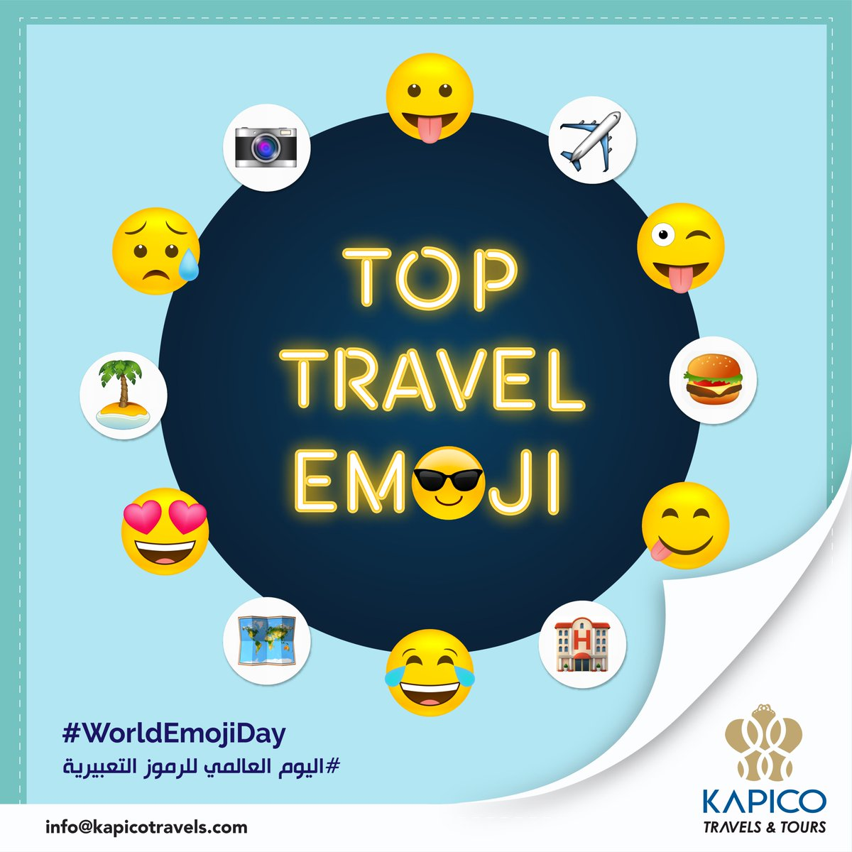 ❤️World Emoji Day❤️ is an unofficial holiday celebrated annually on 17 July since 2014.Jeremy Burge is the creator of World Emoji Day. Some Top #Emoji's used by the #Travellers. Comment your favorite emoji. اليوم العالمي للرموز التعبيرية  #kapico #kapicotravels #worldemojiday https://t.co/LGtHu76fwc