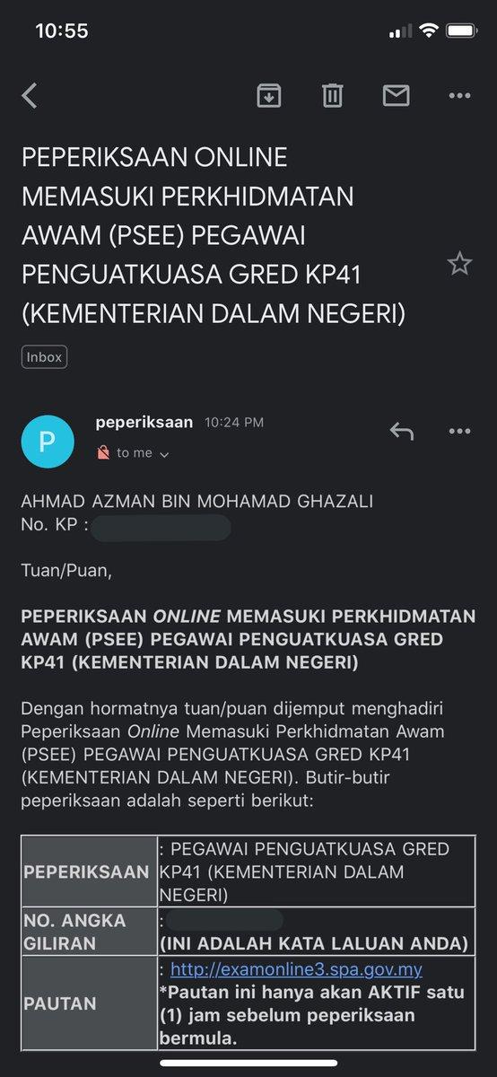 Peperiksaan Online Memasuki Perkhidmatan Awam Psee Pegawai Penguatkuasa Gred Kp41 Kdn