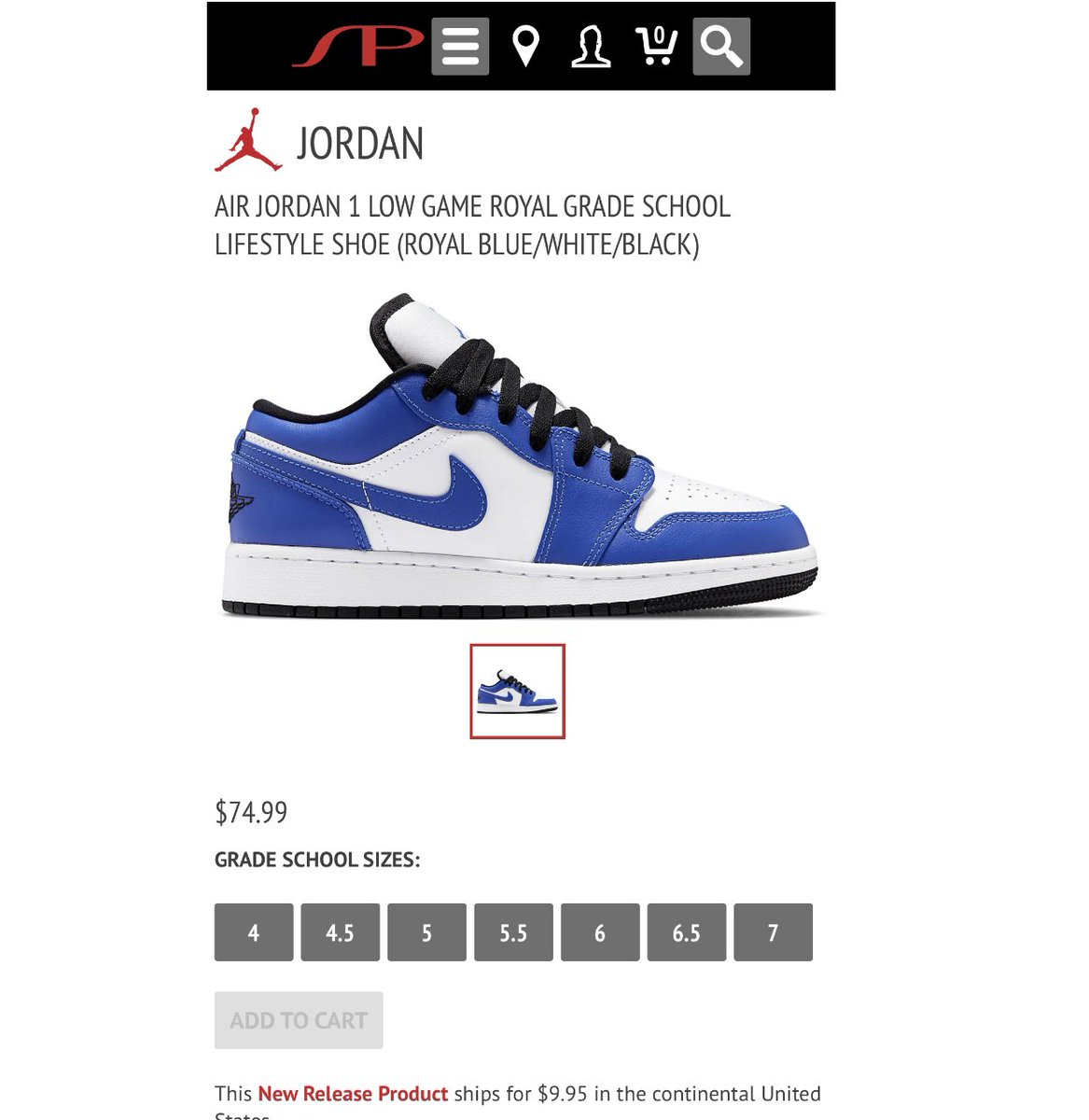 Snkr Twitr On Twitter Restock Gs Jordan 1 Low Game Royal Https T Co Drwwb5ok0e Ad