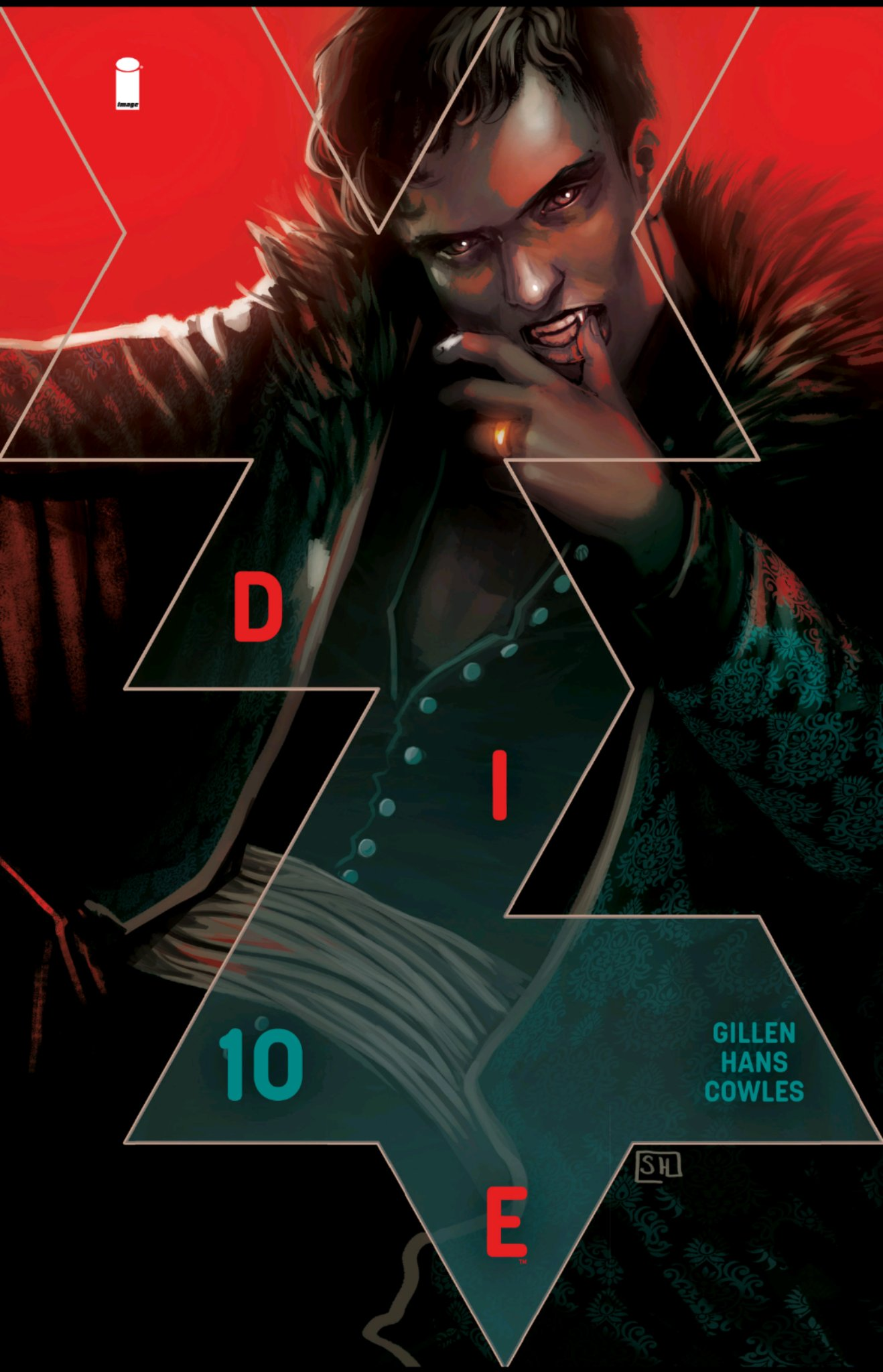 Cover of Die #10. A vampire in a fur-lined jacket reclines with his shirt half unbuttoned.