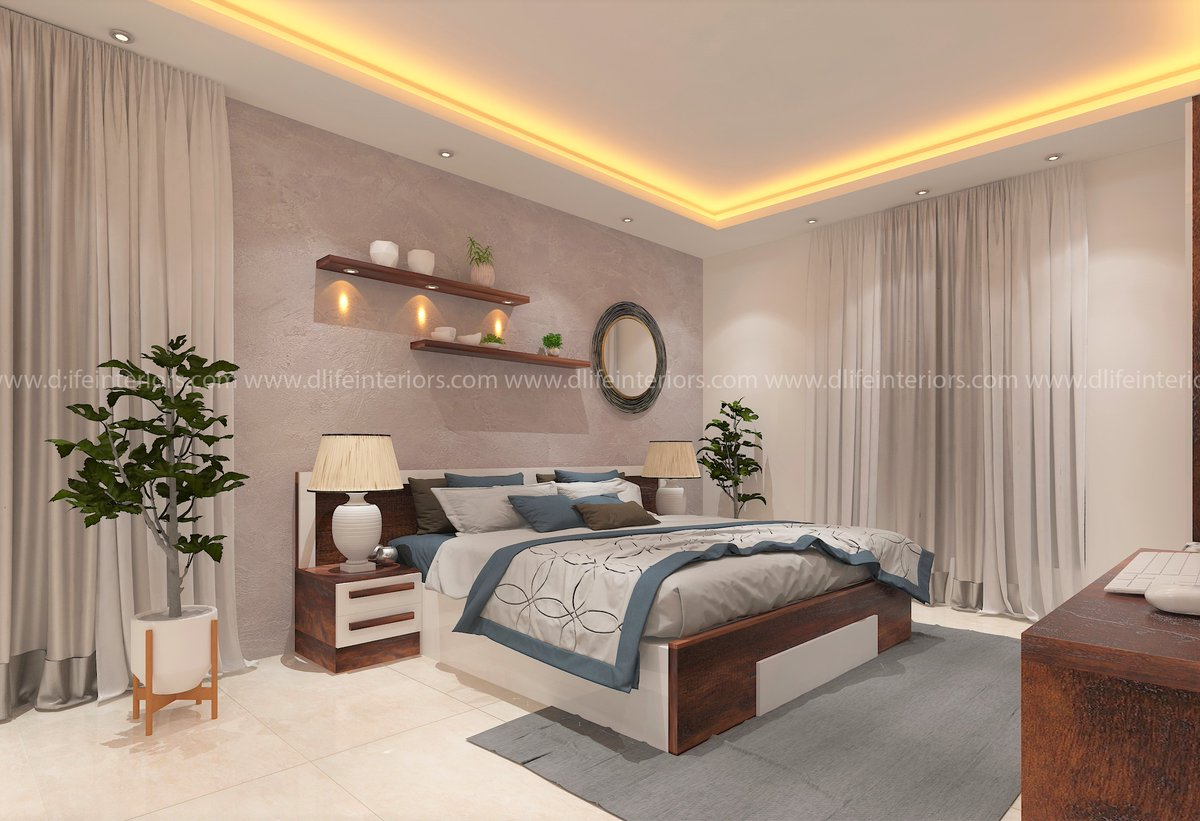 """DLIFE Home Interiors on Twitter: """"Master bedroom featuring a"""