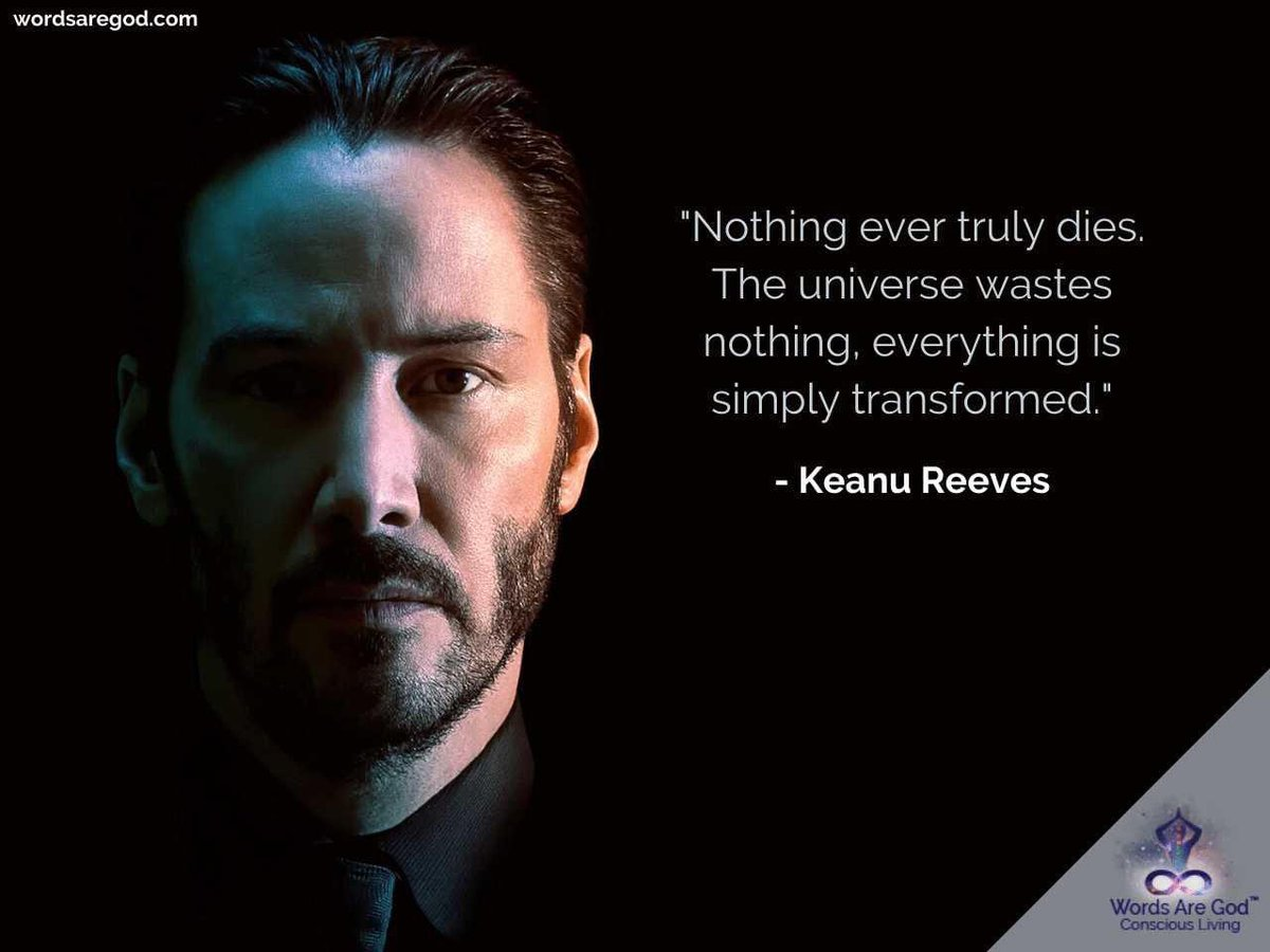 """ Nothing ever truly dies. The universe wastes nothing, everything is simply transformed ""  #wordsaregod #KeanuReeves #keanureevesquotes #wisdom #universe #fridaymorning #wisdomquotes #wisdom #transformationpic.twitter.com/vanWZxqJA0"
