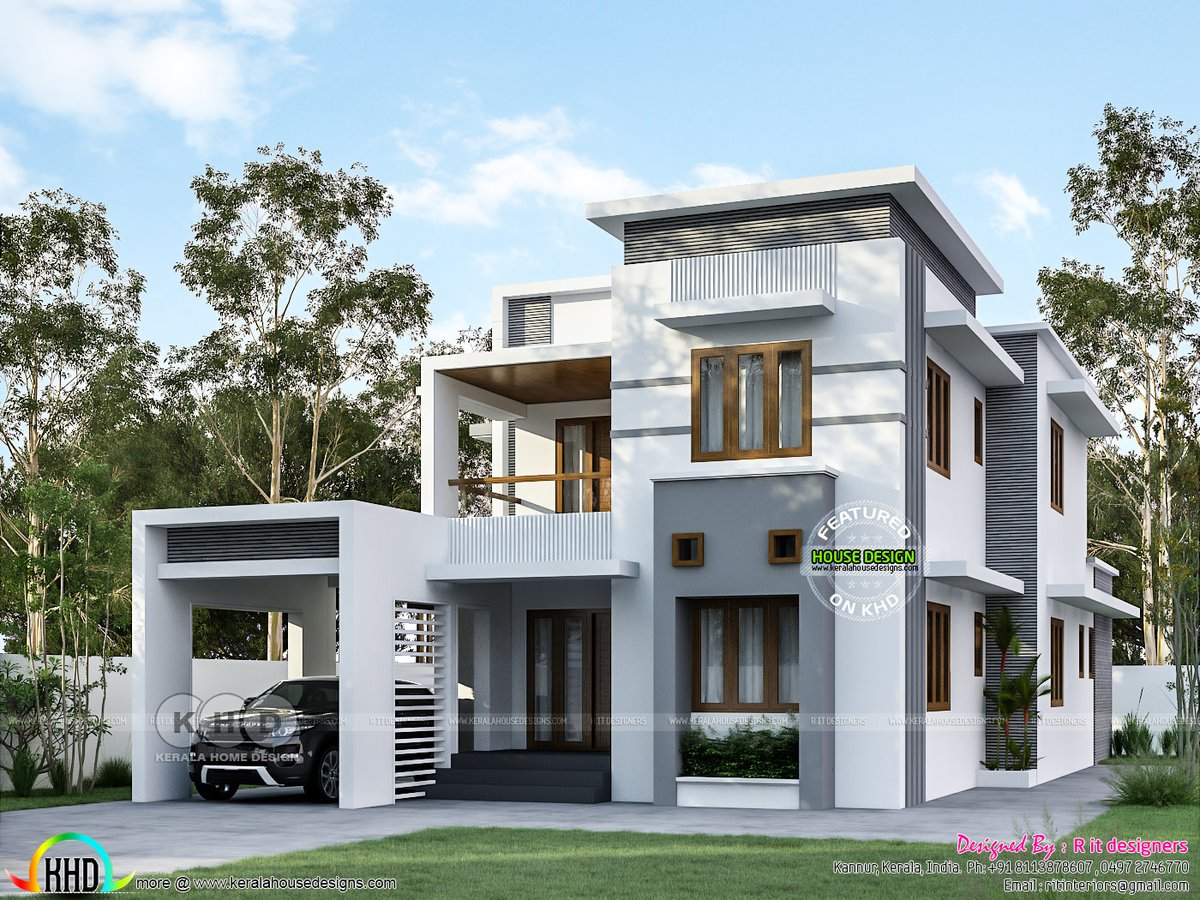Kerala Home On Twitter Modern Flat Roof Home Design Https T Co E4zdgvk2ye