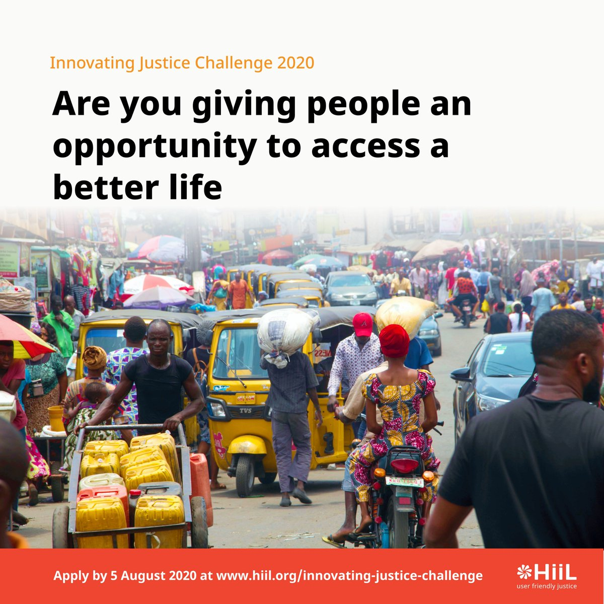 Are you giving people an opportunity to access a better life?  Then you should apply for the HiiL Innovating Justice Challenge 2020 for a chance to be selected for support through the prestigious HiiL Justice Accelerator.  You can apply at https://t.co/3947YFZEgx  #justinnovate20 https://t.co/Rpofah1MdG