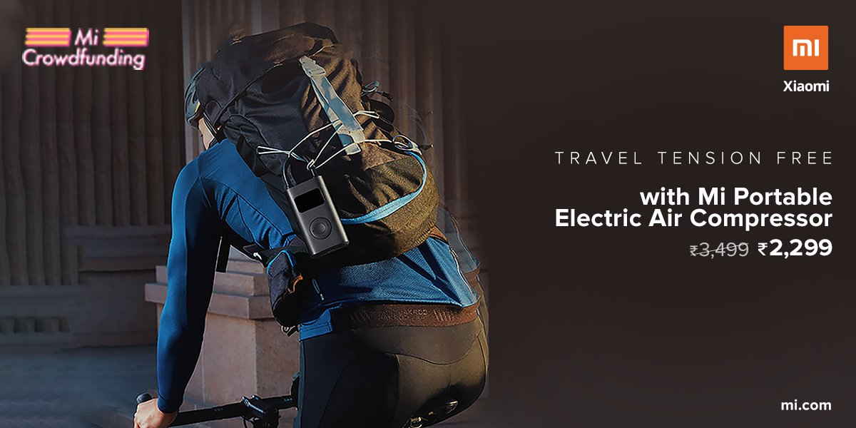 Inflate tyre on the go.   Travel stress-free with the #MiPortableElectricAirCompressor.  Available at a special crowdfunding price of ₹2,299.  Know more: https://t.co/M33iQJx1uz https://t.co/H4RdjvvvEH
