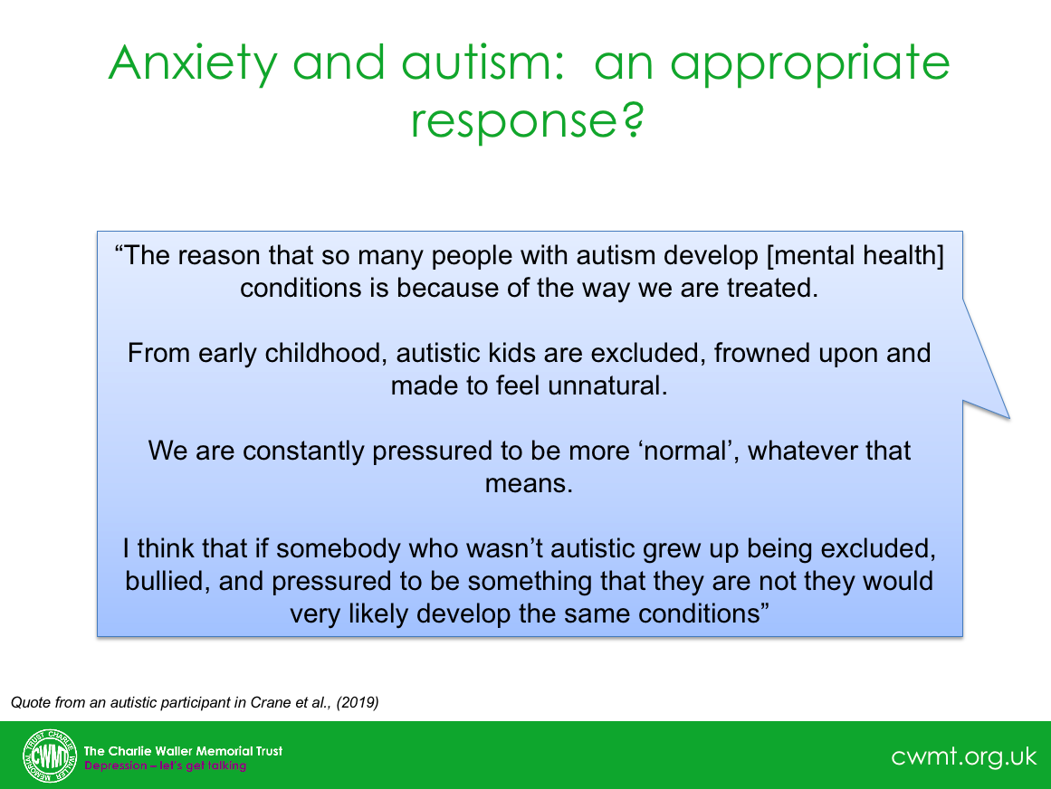@AnnMemmott @Psychautismcham @rcpsych @Autism @NHS_HealthEdEng @AutisticDoctor @Autistica @CANDDID1 @milton_damian Quite - this is a quote I use a lot in my work. Grateful to @LauraMayCrane and colleagues for important work in this area.