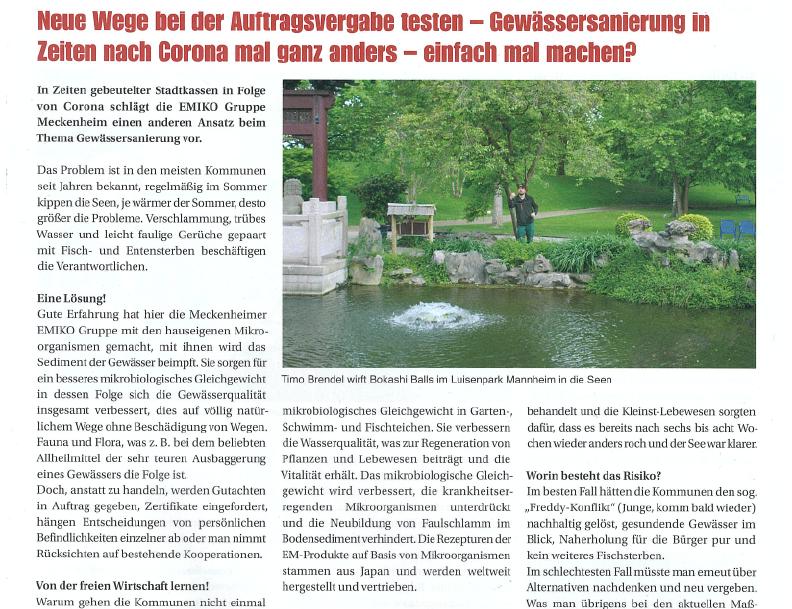 """EMIKO #Effektive #Mikroorganismen in Ausgabe 3/2020 von """"Kommunaldirekt"""" #Gewässersanierung #Meckenheim #EMIKO #Corona https://t.co/oP6xhGNp9H"""