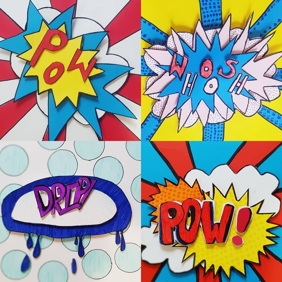 Ending the last full week of term with a bang! #onomatopoeia #popart #year6