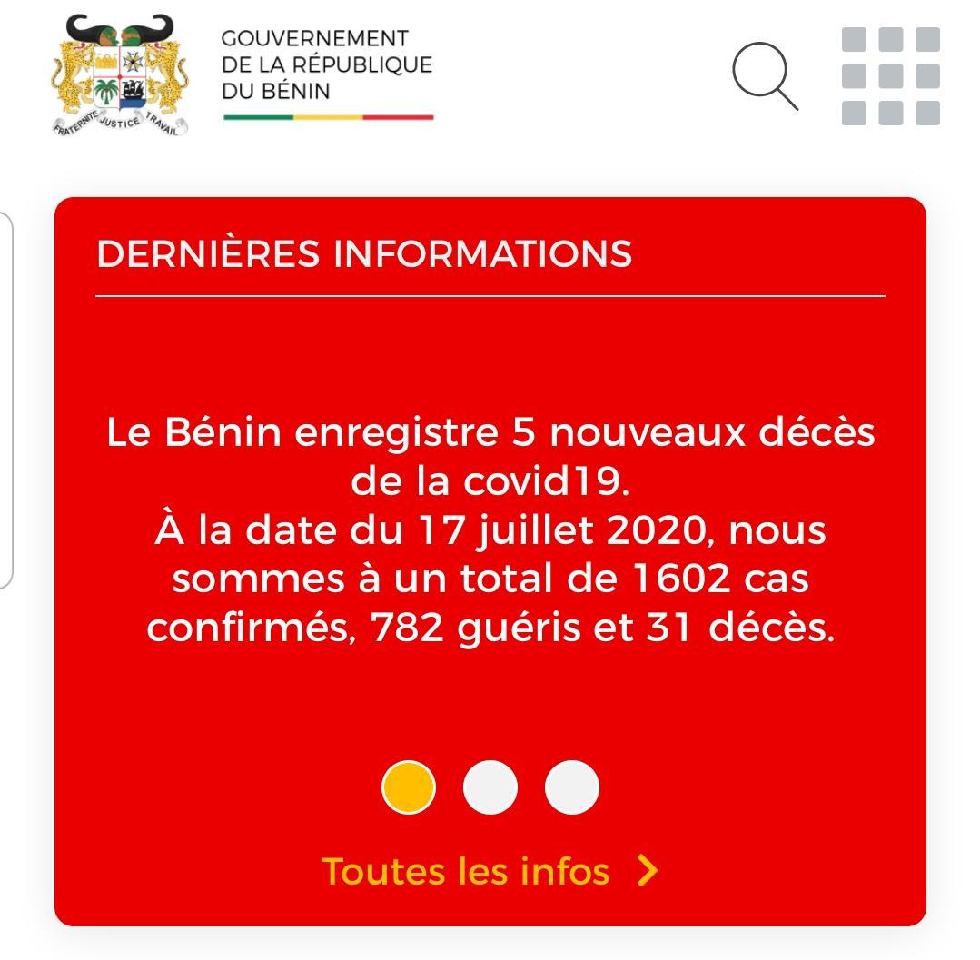 🚨 CORONAVIRUS : Point au Bénin à la date du 17 juillet 2020🚨   Le tableau sanitaire lié à l'infection au Covid-19 au Bénin indique un total de 1602 cas confirmés, avec 789 personnes sous traitement, 782 guéris et 31 décès. Site web officiel: https://t.co/8iLJ0OLIQt https://t.co/chijG7zxpi