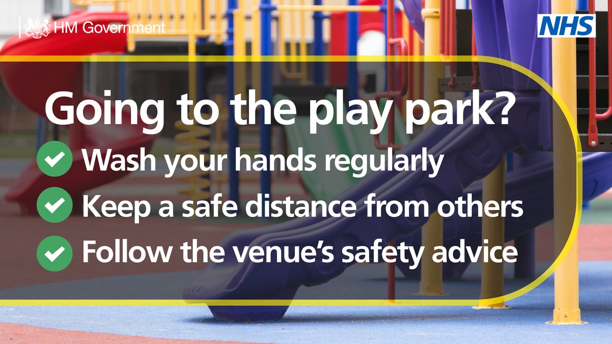 If you're heading to the local park today, it's important to remember these three things:   ✅ Wash (or sanitise) your hands regularly   ✅Keep a safe distance - at least 1m  ✅Follow the venue's safety advice https://t.co/etxWxXTtbK