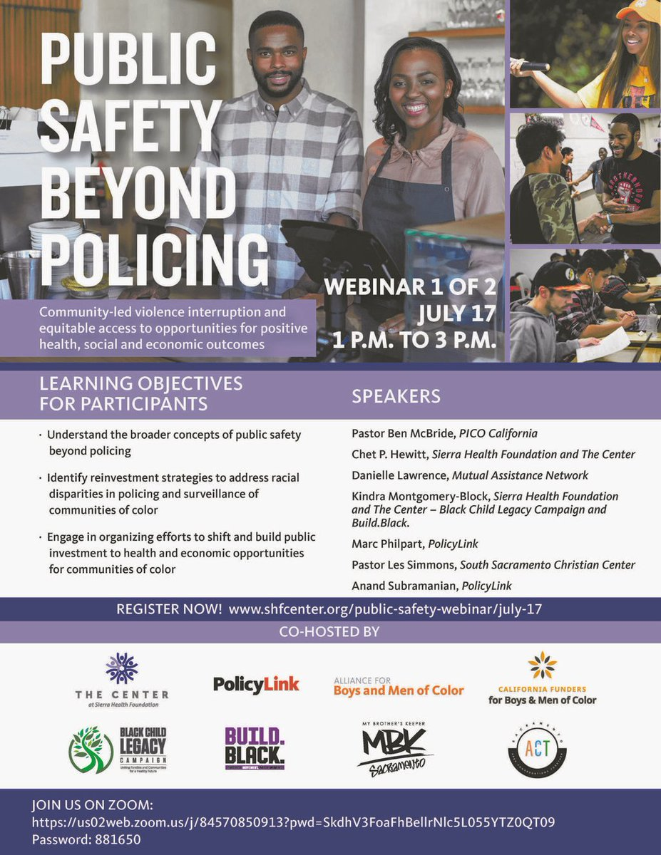 Public Safety Beyond Policing Webinar today, July 17 from 1 p.m. - 3 p.m.  Click the following link to register: https://t.co/14FT0CiD1o https://t.co/T3jpGlqcxF