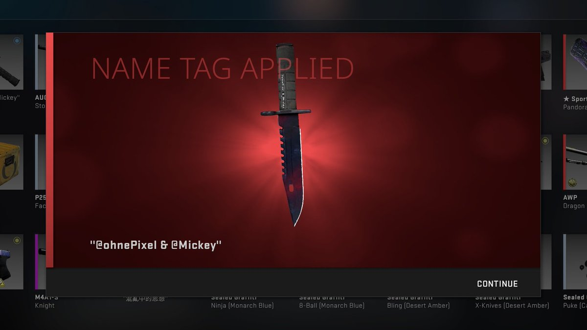 Mickey & I have entered a partnership where we are going to give away CS:GO items EVERY MONTH for the rest of the year 🥰  Starting it all off today with this P1 0.02 M9 Doppler RT and follow @ohnePixel & @Mickey to enter, GL! 🦈 (rolling in 7 days) https://t.co/shvLJhgrKv