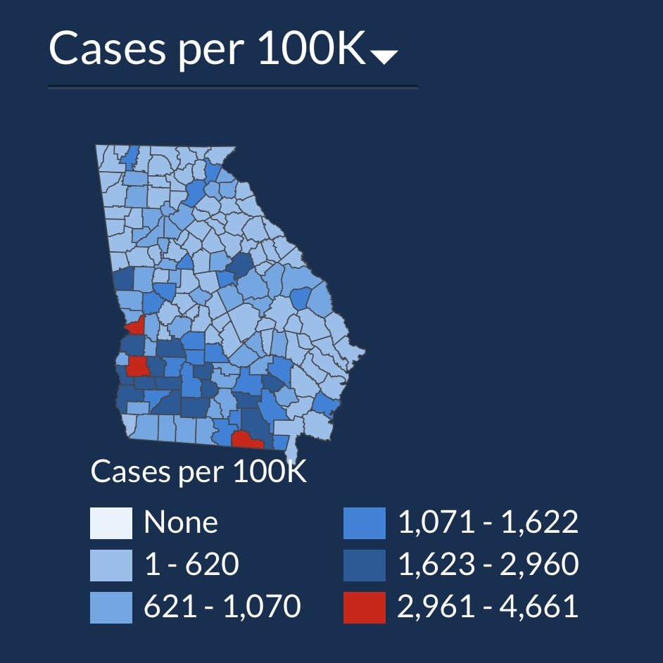 In just 15 days the total number of #COVID19 cases in Georgia is up 49%, but you wouldn't know it from looking at the state's data visualization map of cases. The first map is July 2. The second is today. Do you see a 50% case increase? Can you spot how they're hiding it? 1/ https://t.co/wAgFRmtrPk