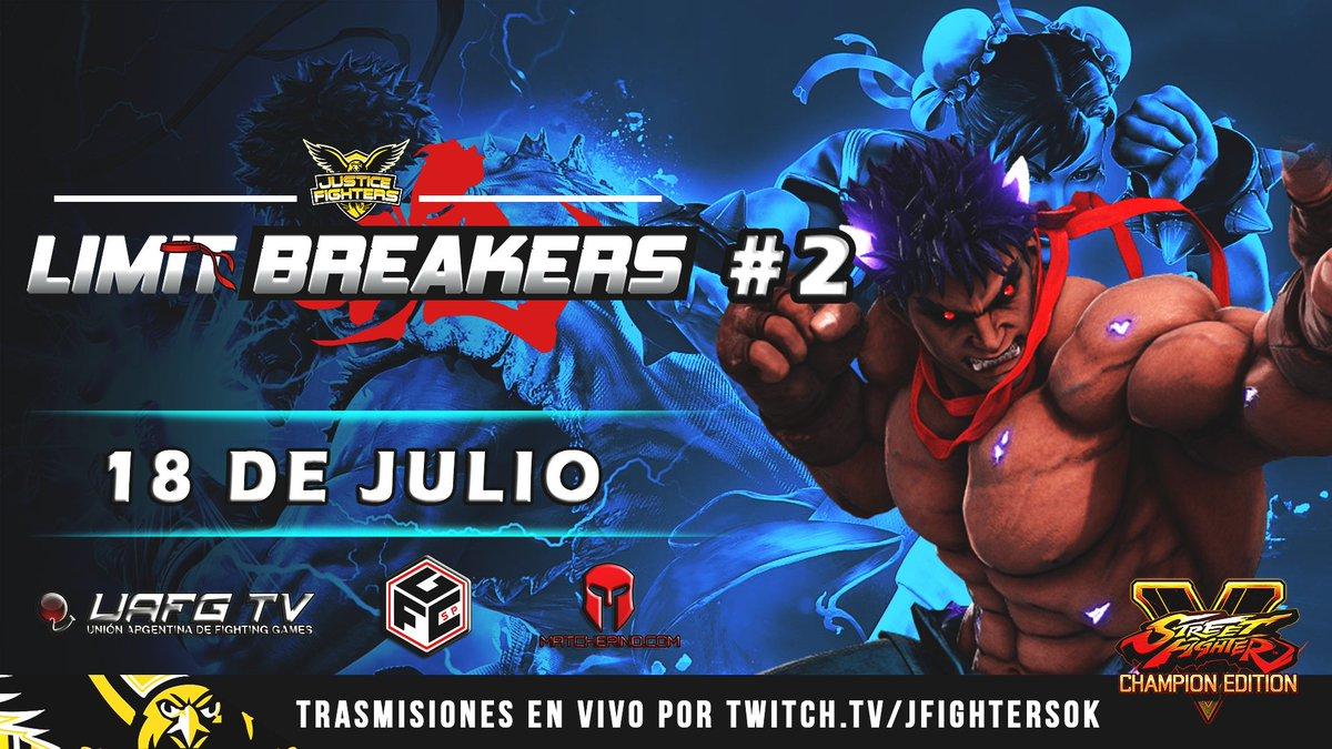 "#Argentina ""Limit Breakers"" Pro Tour! #2   📆18 Julio 📝https://t.co/Bz9EvF0L6Q ⏰9:00pm 🇦🇷 Top 8 - 10:30pm  📺https://t.co/zrSUC4gQwi  💰https://t.co/bcQzWJHqxo código: ALB2  #SFVCE #Capcom #GoJF   Organiza: @JFightersOk  Apoyan: @UAFG_AR @fgcsaopaulo @CrowkicksAR @matcherino_ https://t.co/pbI33OeEde"