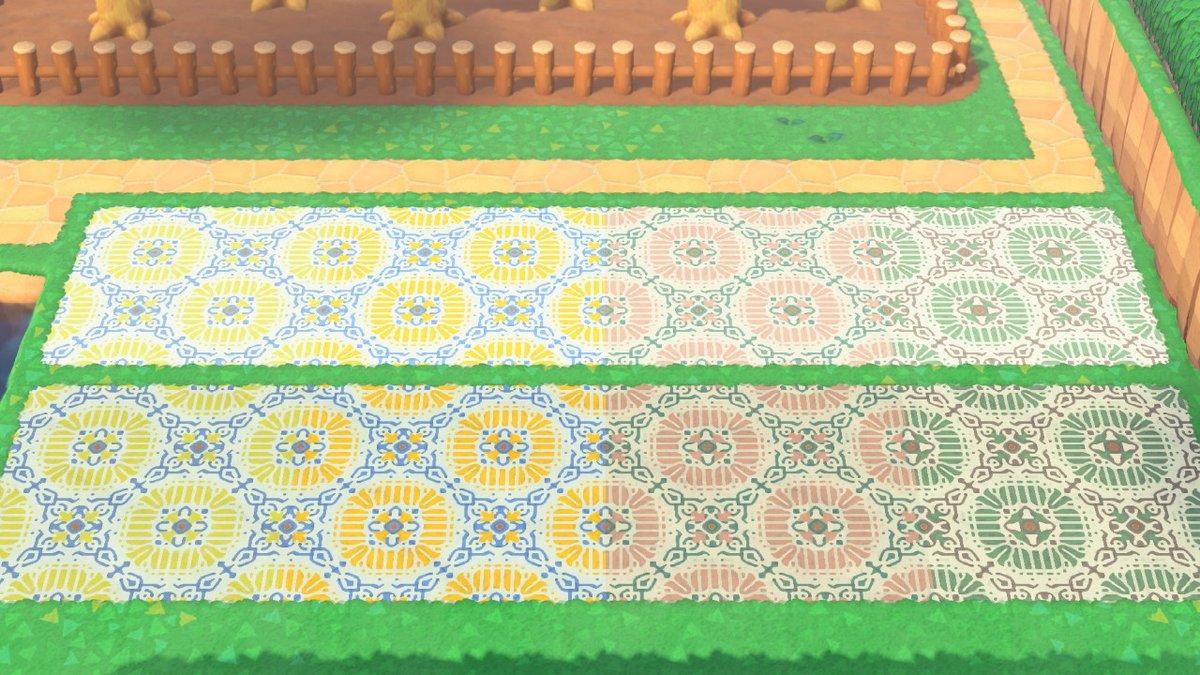 エイブルに「ハナタイル」四色アップしました!二枚で一組になってます!上が土の道、下が黒土の道の上に敷いてます。#マイデザイン #あつもりマイデザイン #マイデザ配布 #どうぶつの森 #AnimalCrossing #ACNH #NintendoSwitch