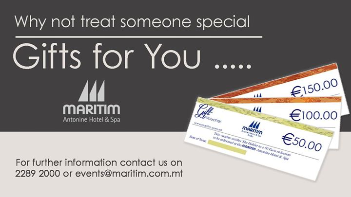 💌 Why not treat someone special🥰 ✨Gift vouchers for you 📩 For further information, please contact us on: ☎️ 2289 2000 📧 events@maritim.com.mt Or send us a private message  #gift #voucher #maritim #malta #maritimmalta https://t.co/61xWInYhvs