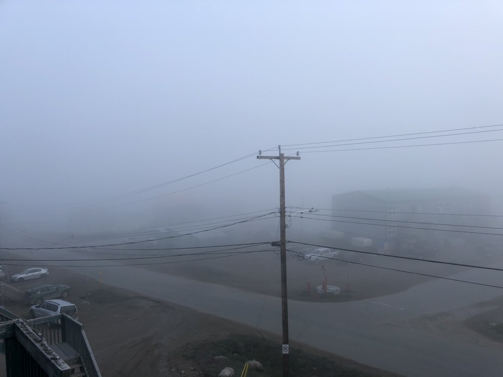 Fog rolled in earlier this evening, #Iqaluit #foggynight #ShareYourWeather 17-Jul-20pic.twitter.com/G453nkqRkr