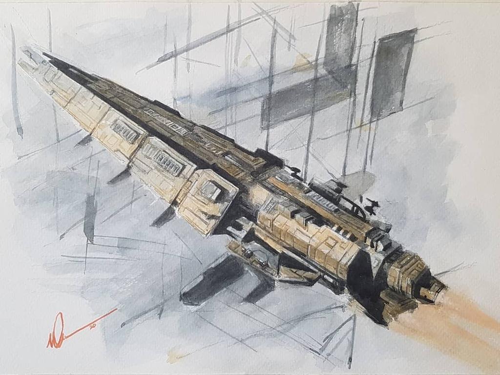 """Cane over new Jita"" #watercolor 12x9"" paper #eveonline #tweetfleet  #space #spaceships #spaceshipart #virtualworld #virtualplienair #lloydgeorge #contemporaryartist #contemporaryscifi #popularculture #artofagamer #art #arte #scifiartwork #painting #scifipainting #dailyscifi… pic.twitter.com/34RcOmpx8Z"