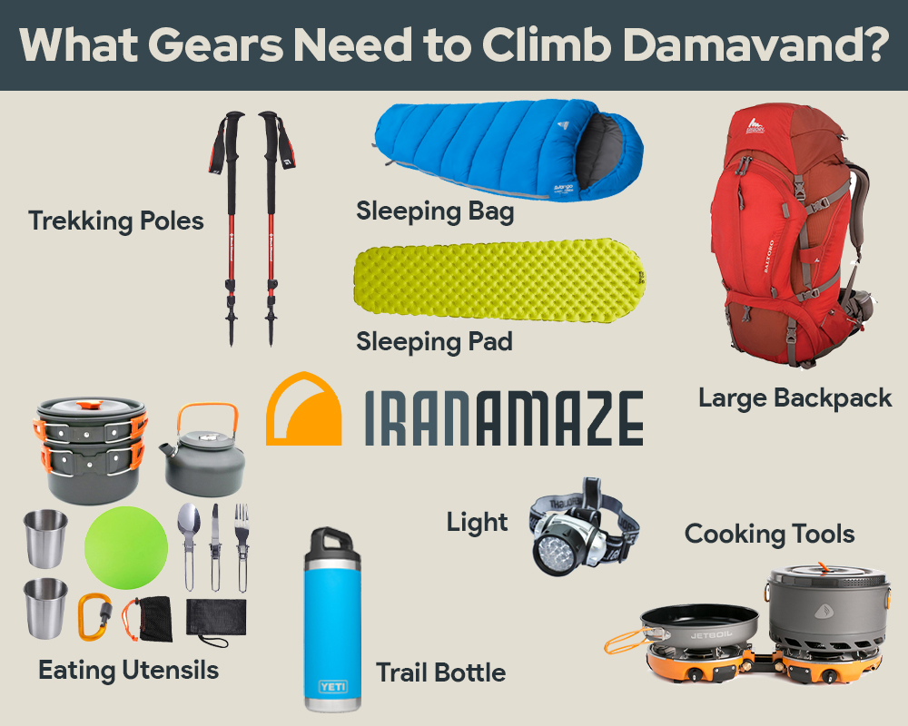What Gears Need To Climb #Damavand Mount? Share this post with your friends   #mountain #climbing #hiking #trekking #trip #hiker #backpacking #summit #iran #travel #bestplacetogo #tourism #nature #infographic #adventure #summerpic.twitter.com/JxDoaYbX2u