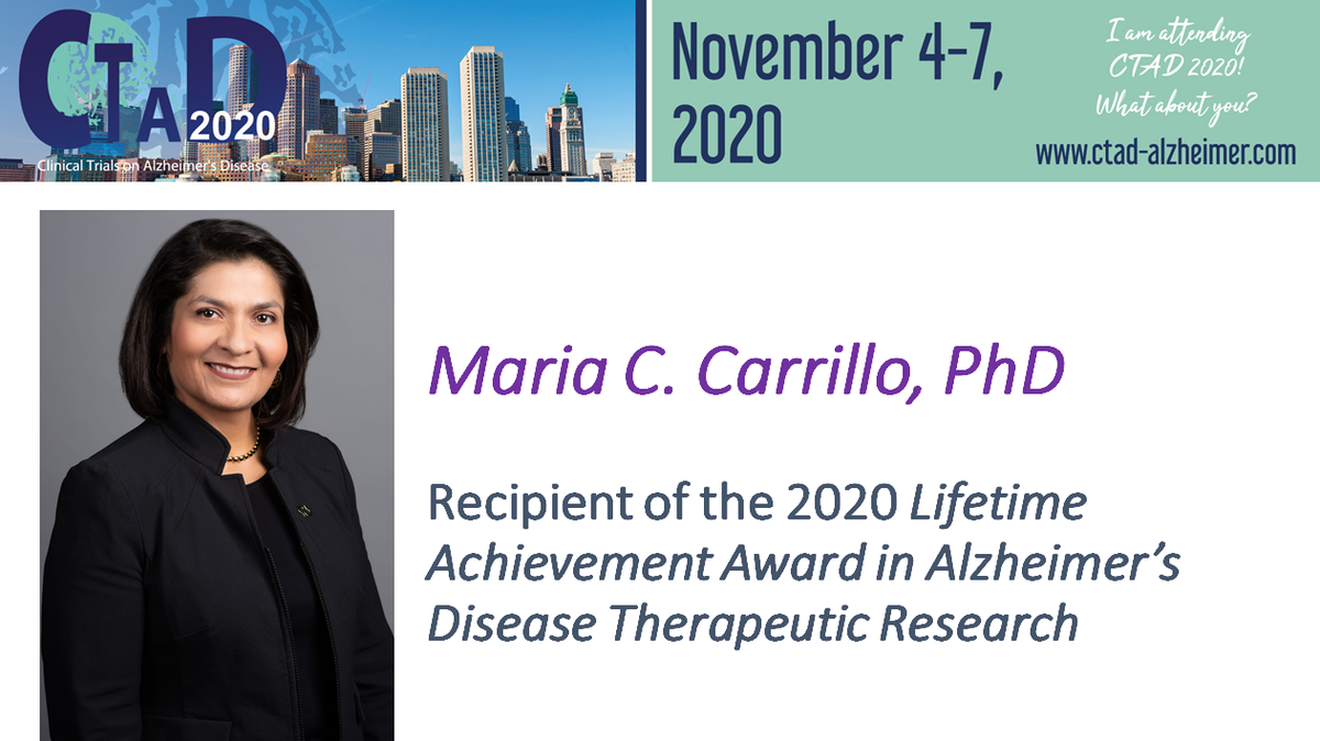 Congratulations to @DrMariaALZ recipient of the @CTADconference 2020 Lifetime Achievement Award in Alzheimer's Disease Therapeutic Research @alzassociation #ENDALZ https://t.co/rX5r6ZzZT4