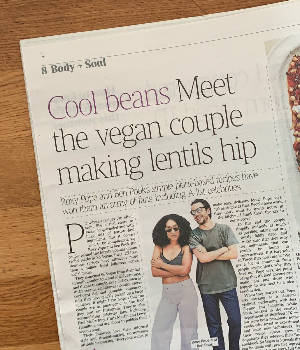 You'll find 3 recipes from our new cookbook ONE POT VEGAN in today's @thetimes! Roxy also chats about the vision behind SV and why it's important we do more to promote diversity in mainsteam veganism ✌🏽✌🏻