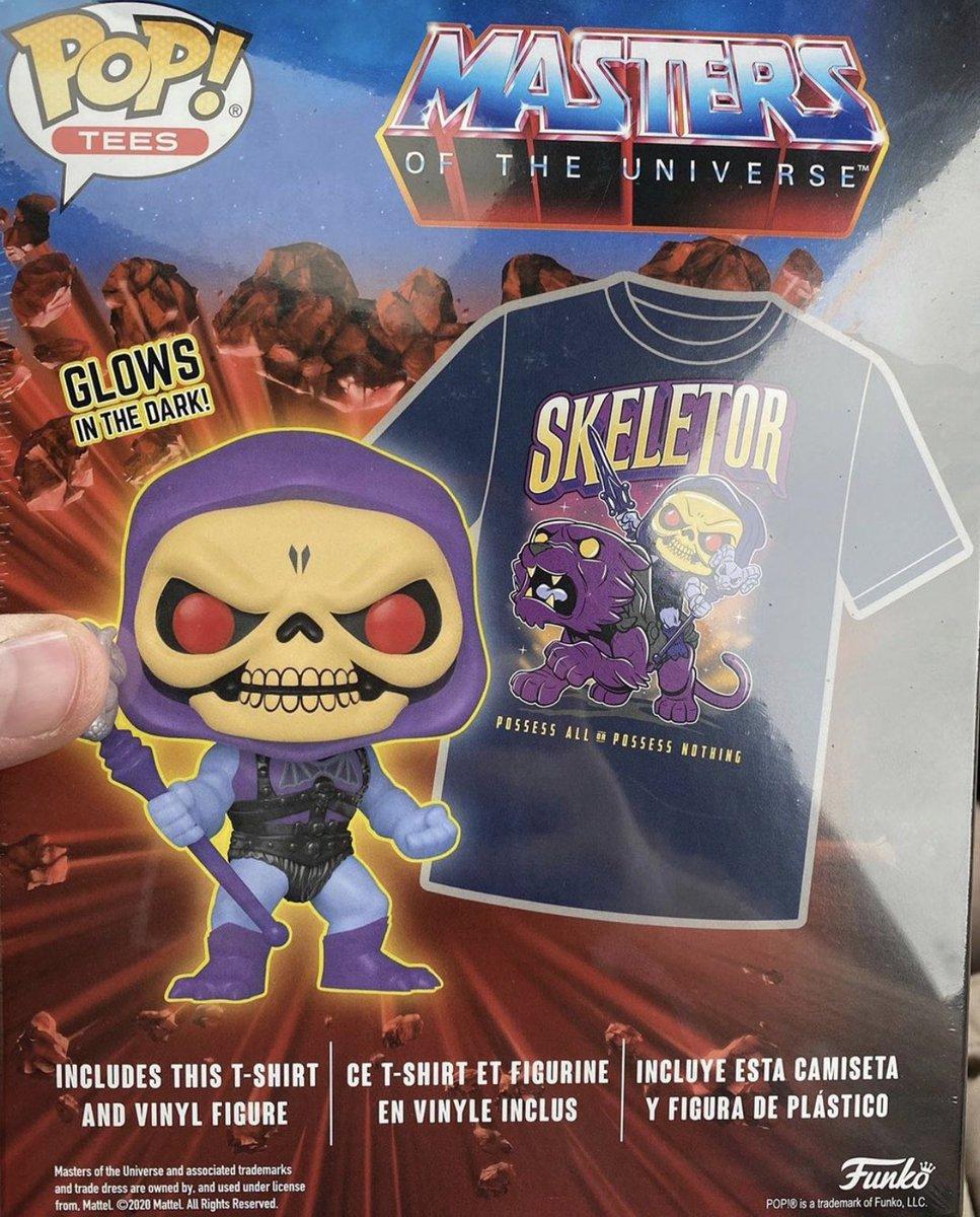 Coming Soon: Walmart Exclusive Masters of the Universe Glow in the Dark Skeletor Pop! & Tee Bundle and Metallic Webstor. . Repost @DisFunko