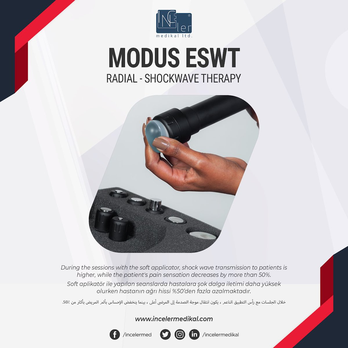 During the sessions with the soft applicator, shock wave transmission to patients is higher, while the patient's pain sensation decreases by more than 50%.  http://www.incelermedikal.com  #shockwavetherapy #shockwavedevice #eswt #shockwave #therapy #shockwavemachine #eswtmachine #Ftrpic.twitter.com/opzsjm4zDz
