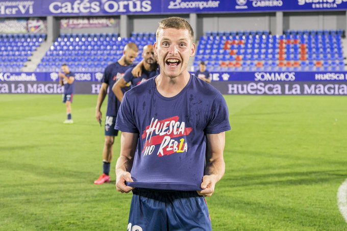 Sergio Gómez celebrando el ascenso de la SD Huesca