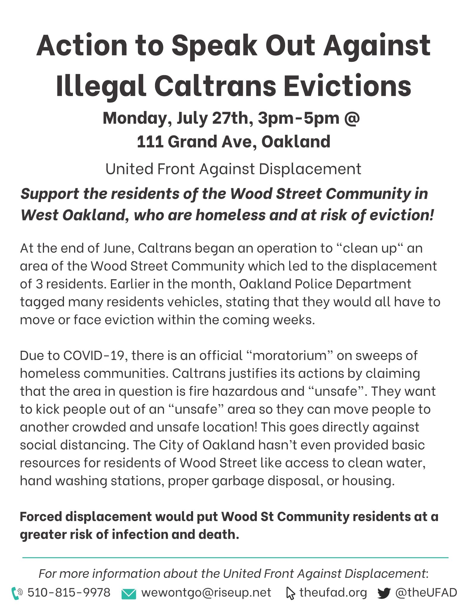 Speak Out Against Illegal CalTrans Evictions @ CalTrans