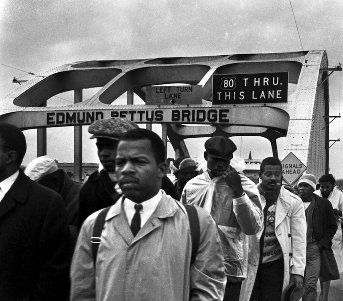 John Lewis died today. You see the name on the bridge he's crossing in Selma, AL? It's the #EdmundPettusBridge named for a pro-slavery Confederate who was a KKK Grand Dragon. It's still there named Edmund Pettus Bridge. WTH is wrong with Alabama? Change the damn name already.