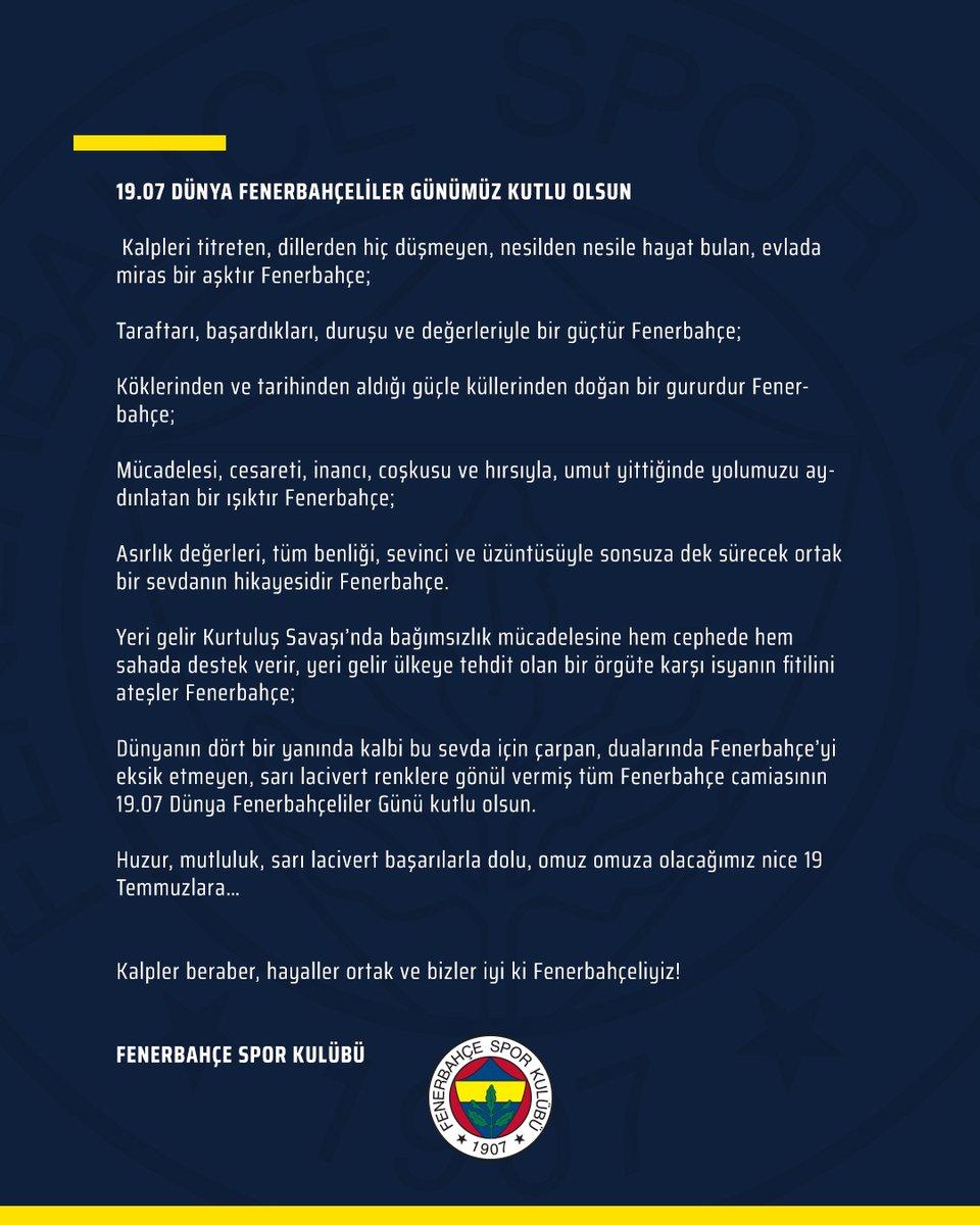 19.07 Dünya Fenerbahçeliler Günümüz Kutlu Olsun  #YaşaFenerbahçe https://t.co/3JjU3HcKp2