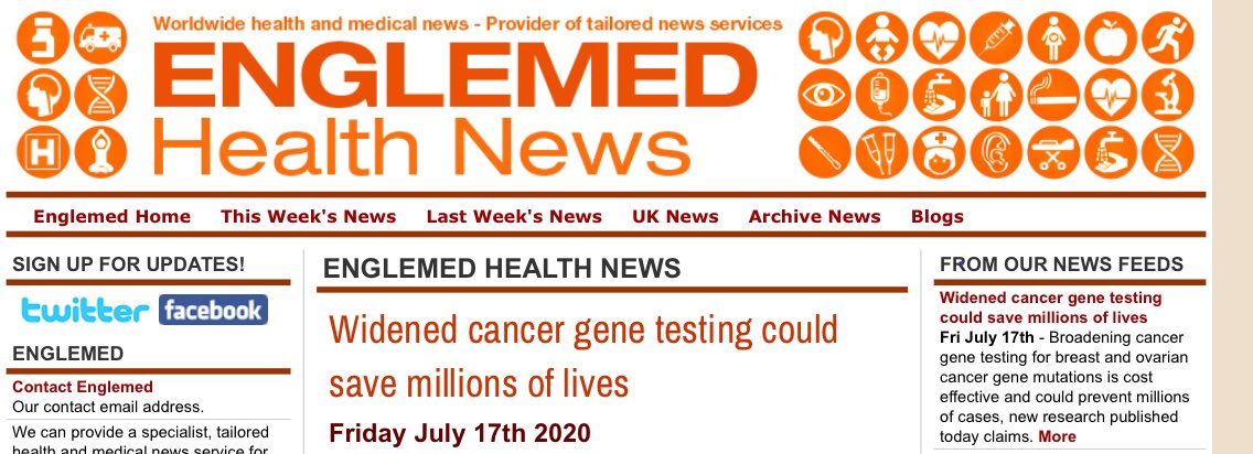 The Eve Appeal On Twitter New Research Supported By Eve Extending Genetic Testing Could Save Women S Lives Ovariancancer Breastcancer Https T Co Ifkmicogcw Https T Co Ivfxfvoasa