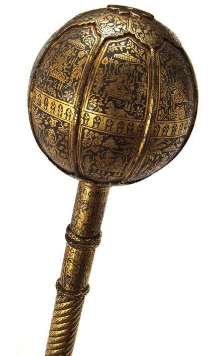 1. Gada (गदा) It was a type of Mace, it was a heavy, blunt weapon, maces at the time of Mahabharata were heavier than modern macesOne good proper strike of mace was enough to K!ll a person, a dangerous weapon used by Powerful warriors.