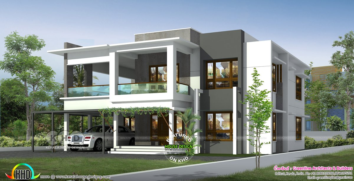 Kerala Home On Twitter Flat Roof Contemporary Home Https T Co Hwdgo5ep0q Architecture Design Rendering