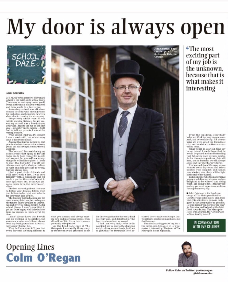 Thank you to @irishexaminer for featuring our own @ConciergeCJohn in today's paper for #SchoolDaze @TrigonHotels @The_VQ_Cork https://t.co/gCUw2ToBgU