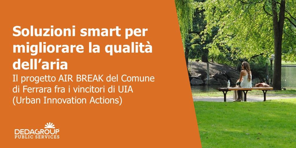 Con Dedagroup Public Services siamo fieri di aver contribuito al progetto AIR BREAK del Comune di Ferrara - fra gli 11 vincitori della selezione europea di Urban Innovation Actions (UIA). https://t.co/0YeEHGSNRG https://t.co/7I1AJjdNdm