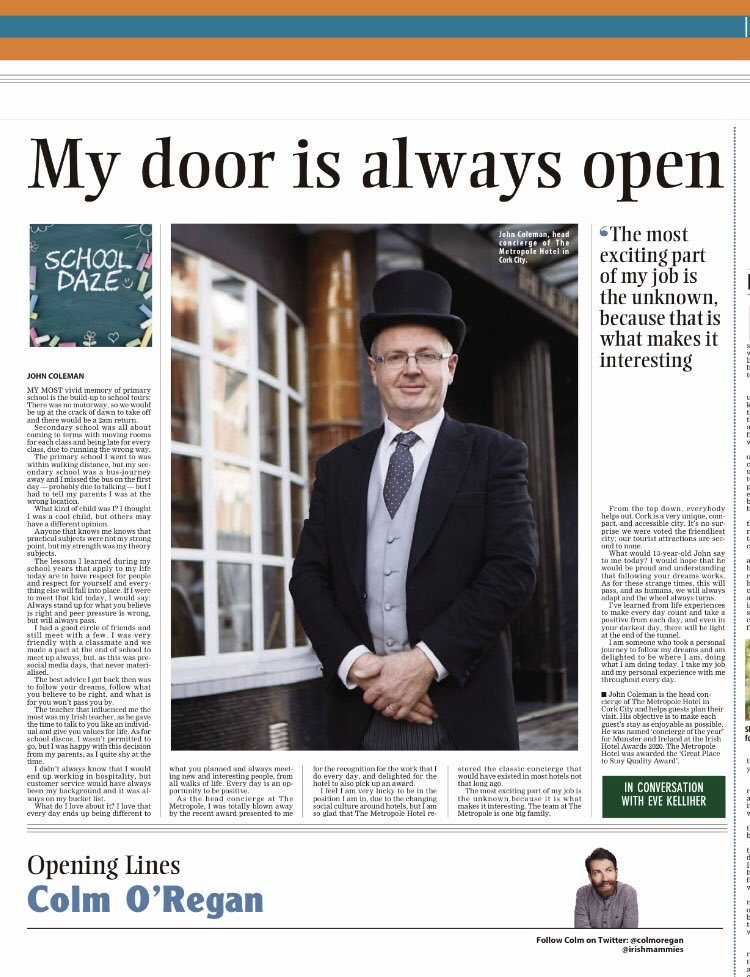 Lovely interview with @ConciergeCJohn of @MetropoleCork @TrigonHotels in today's @irishexaminer @evekelliher https://t.co/LFRnxNZNwG