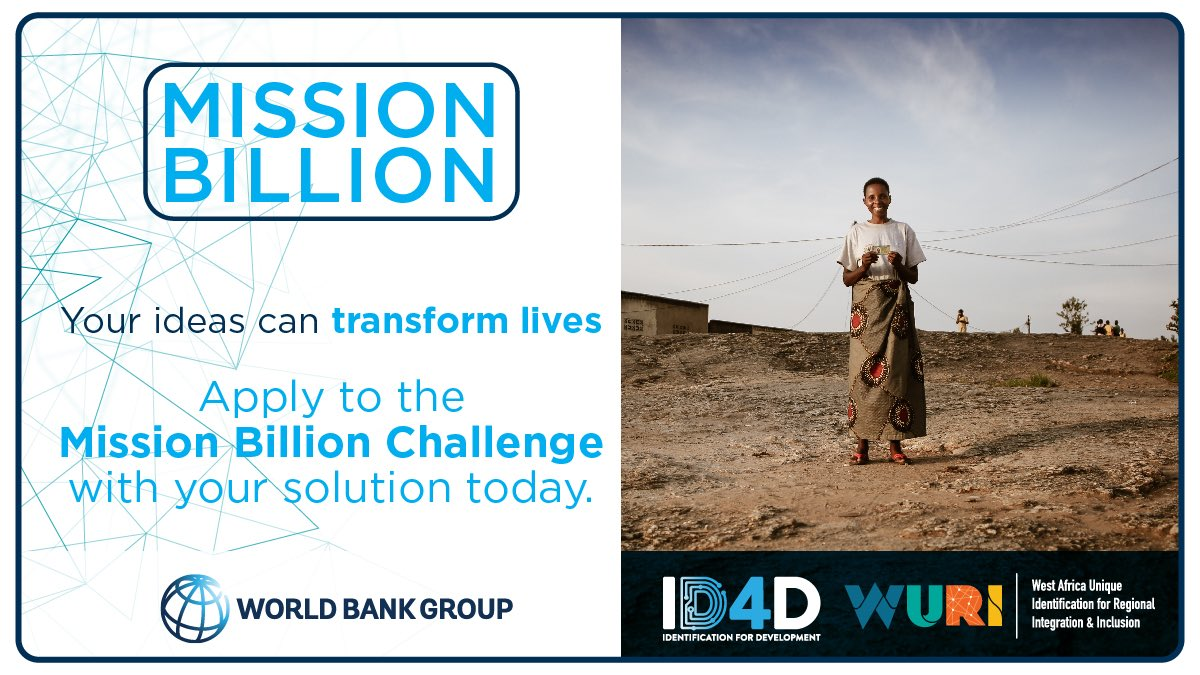 > @WorldBank #ID4D are launching their second #MissionBillion Challenge seeking innovation to strengthen inclusion & empower the 'invisible billion' that do not have ID, preventing access to social protection, particularly during crisis. https://t.co/sQ9vzuVjAo https://t.co/2xjBNHMtLL