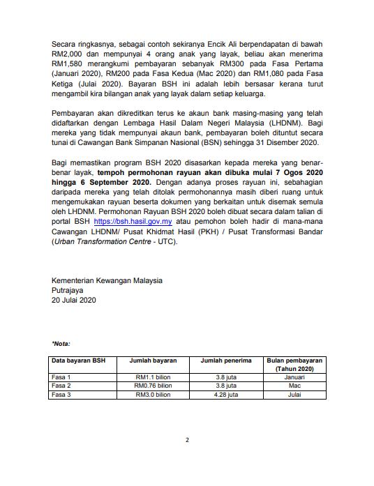 Bernama Tv Di Twitter Pembayaran Fasa Ketiga Bsh 2020 Dan Tarikh Permohonan Rayuan Mofmalaysia
