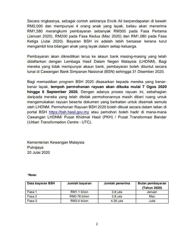 Tengku Zafrul On Twitter Siaran Media Pembayaran Fasa Ketiga Bantuan Sara Hidup Bsh 2020 Tarikh Permohonan Rayuan Bertarikh 20 Julai 2020 Https T Co Hdefgyjcds