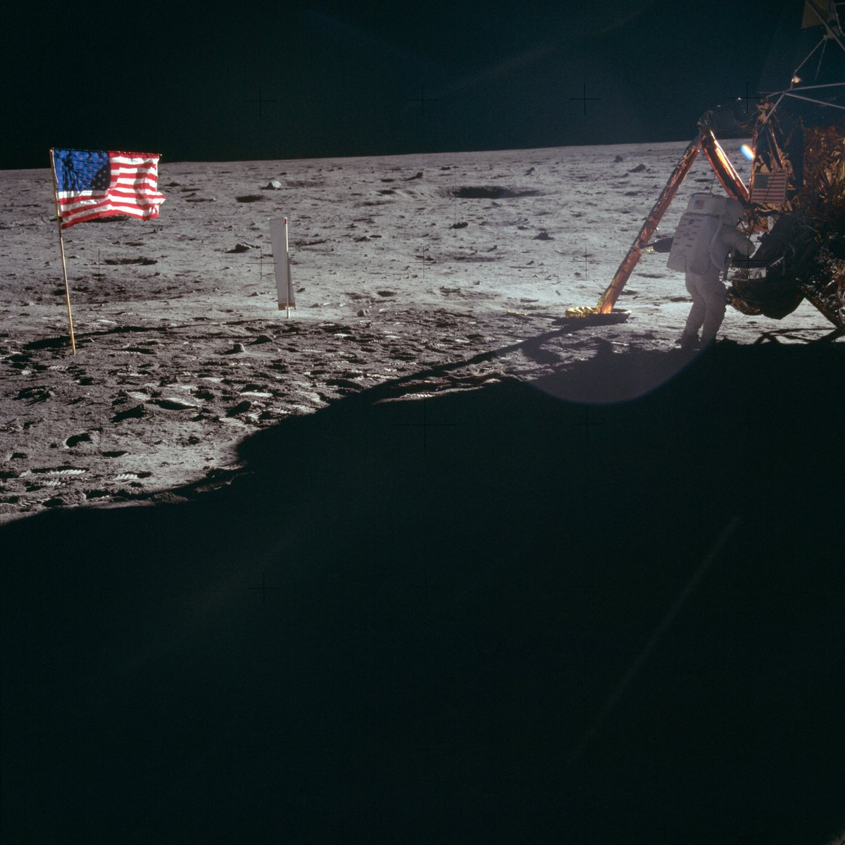 "Can you believe it's been 51 years to the day since we landed on the moon? Neil Armstrong, Apollo 11 commander, works at the Lunar Module ""Eagle"" on the historic first extravehicular activity (EVA). Buzz Aldrin took the photo. https://t.co/MDLc3r0Ftq"