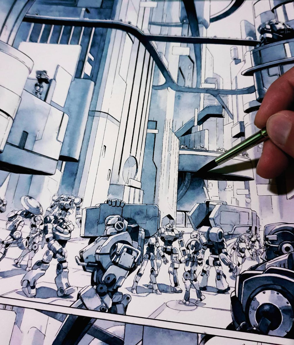 Working on Astrobots comicbook!  - #comic #watercolor #toynotch #mecha #robot #artpic.twitter.com/j8LK1UUeXl