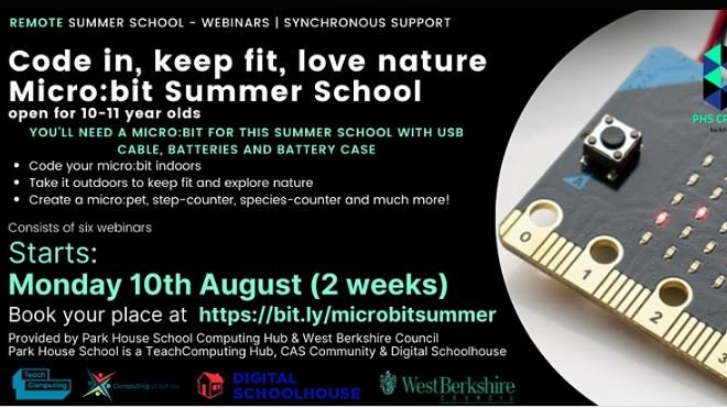 Here's a fantastic remote summer school opportunity for Year 6 students to support transition to secondary school  https://t.co/FkzbvEIvn2 from our Computing partner @HubPHSNewbury  Low cost; 6 webinars over 2 weeks; starts 10th August; you'll need your own micro:bit to take part https://t.co/QLYxQqKxCw