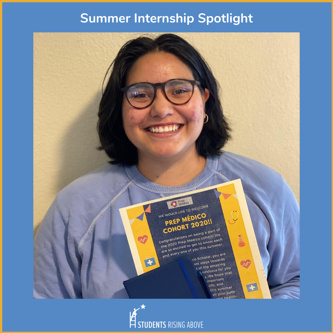 """#InternshipSpotlight 💫 SRA star Kasy completed summer internship @ucdavis @prepmedico 💛 Although her internship turned virtual she found it """"inspiring & empowering as a #Latina"""" & learned valuable skills & lessons that will guide Kasy in her path towards becoming a physician!👩🏻⚕️ https://t.co/9OQYZVz2s0"""