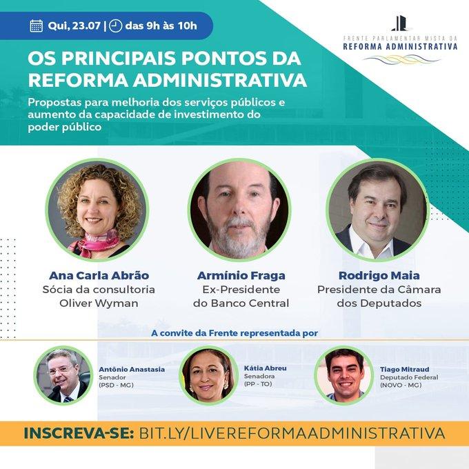 Continuamos a discussão sobre principais pontos da Reforma Administrativa. Na quinta-feira, vamos receber