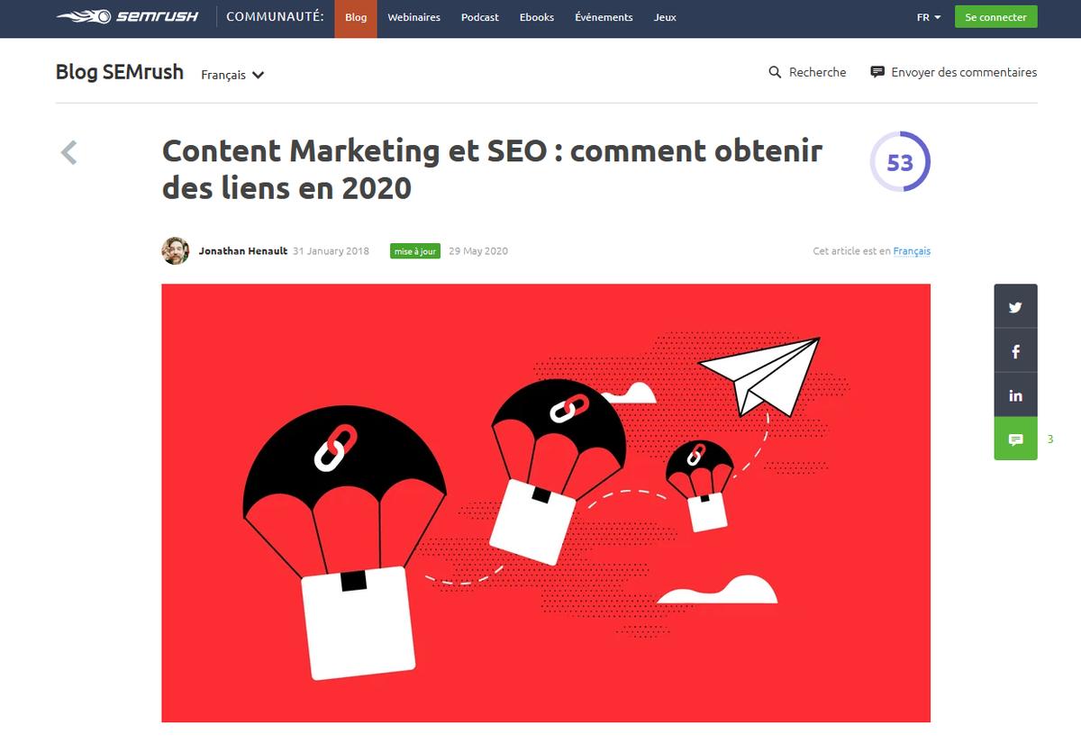Content Marketing et SEO : comment obtenir des backlinks en 2020 https://t.co/8yTvKb70ot @semrush_fr https://t.co/Ih0xhdGzRR