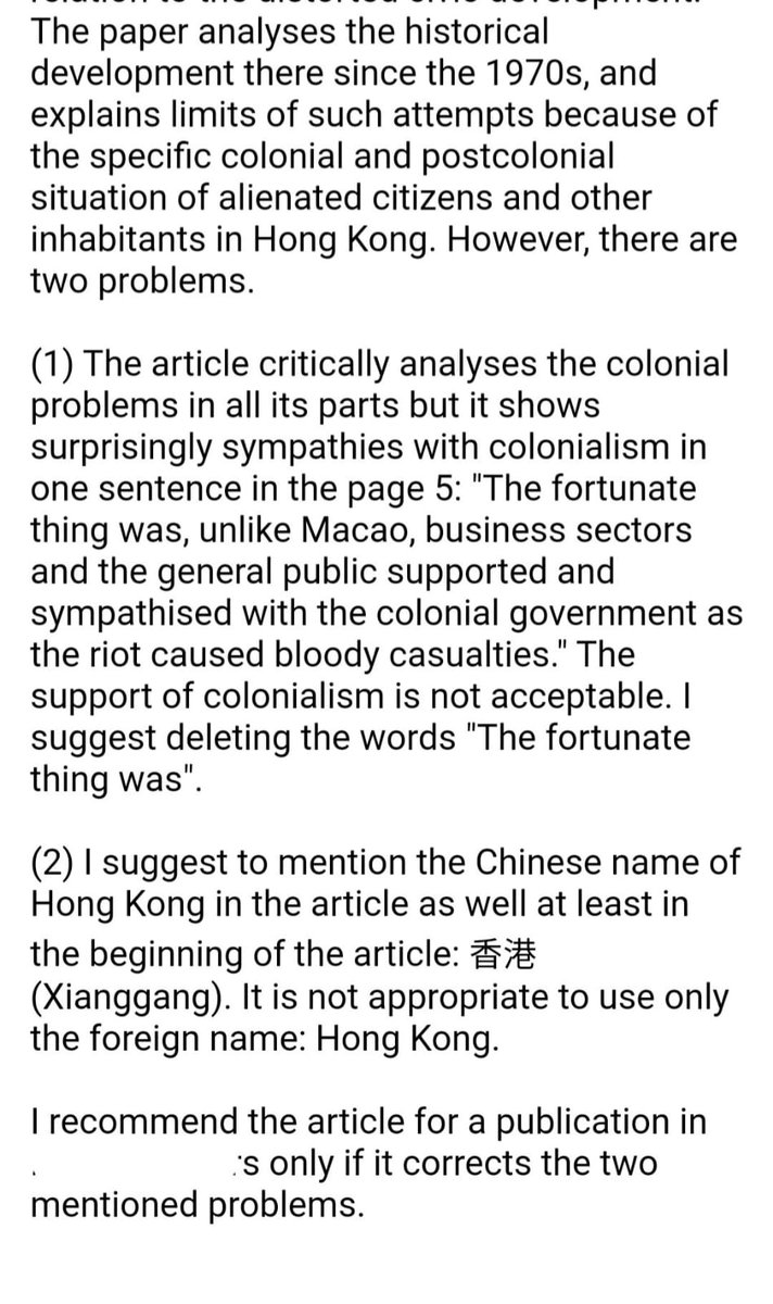 Another academic paper just got reviewed. 4 reviewers, unbelievable. One of the reviewers requests me to add Mandarin Pinyin and remove all colonialism-related wordings. Perhaps he or she is from China?  My answer to the requests is NO.  #DefendingHongKong https://t.co/tI5C2rg4zu