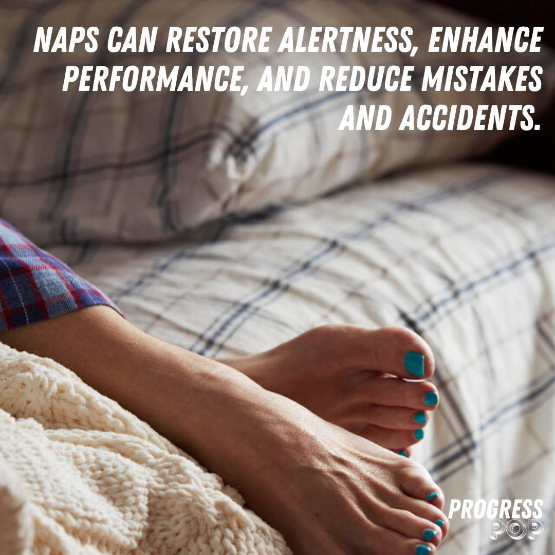 According to , naps can improve alertness, enhance performance, and reduce mistakes and accidents. A study at NASA on sleepy military pilots and astronauts found that a 40-minute nap improved performance by 34% and alertness 100%.
